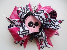 Chevron Skull Bow Halloween Bow Monster by ransomletterhandmade, $10.00