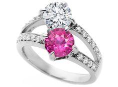 Toi et Moi  Diamond & Pink Sapphire Engagement Ring in 14K White Gold