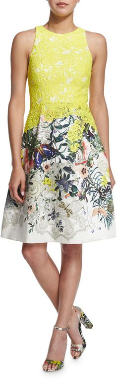 Monique Lhuillier Sleeveless Fit-&-Flare Dress, Yellow