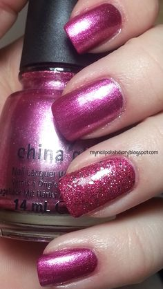 China Glaze Mistletoe Me! with OPI Excuse Moi accent nail