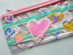 80s Vintage Hearts Galore Pencilcase.
