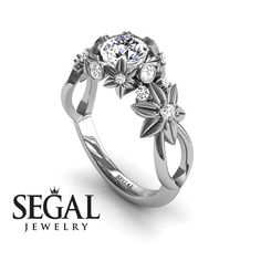 Unique Flower Engagement Ring Diamond ring 14K by SegalJewelry
