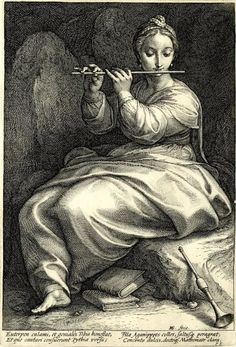 Hendrick Goltzius (1558-1617) The Nine Muses. Plate 6: Euterpe, 1592. British Museum. Imagem Semanal: Euterpe http://arteseanp.blogspot.com