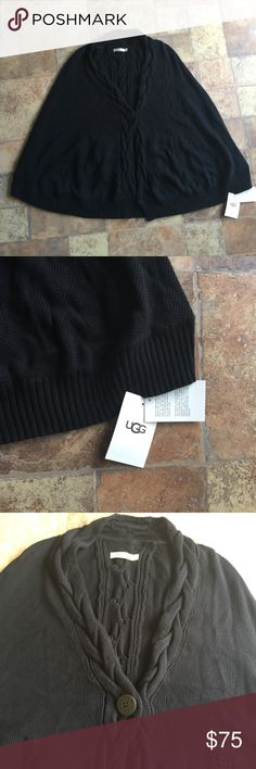NEW UGG Black Sweater Poncho  Anjeline Cable knit NEW UGG Black Sweater Ponch Anjeline Women's size XS/S NWT D117 UGG Jackets & Coats Capes