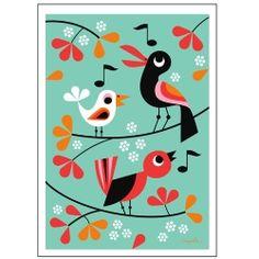 "Blå Gungan - webshop design & crafts - Poster Ingela P Arrhenius ""Kvitter"" cm Illustrator, Affinity Designer, Kids Poster, Bird Drawings, Bird Illustration, Bird Prints, Bird Art, Scandinavian Design, Illustrations Posters"
