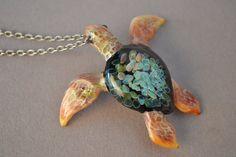 Graduation Gift Sea Turtle pendant blue sea anemone by Glassnfire, $49.00