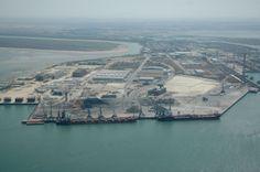 Vista aérea de los Muelles con el Muelle Norte en primer término.Puertoreal