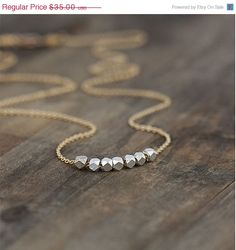 Black Friday SALE - Silver Nuggets Gold Necklace / Mixed Metals / 14K Gold Filled Chain / Sterling Silver Nuggets