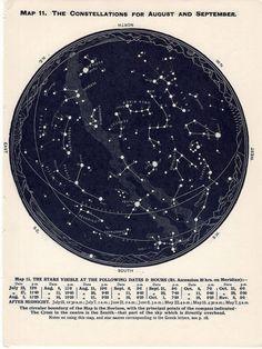 1955 august september october of northern hemisphere constellations original star map vintage celestial print