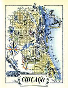 Chicago Map Print // Old Map Illustration // Vintage Map Art // Jacques Liozu Art // City of Chicago Art // Chicago Illinois Map by HildaLea on Etsy Chicago Pictures, Map Pictures, Chicago Map, Chicago Illinois, Chicago Poster, Chicago Baseball, Chicago Style, Vintage Maps, Antique Maps