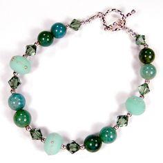 Lampwork Bracelet Fire Agate Beads Mint Handmade Glass Sterling Silver | #Covergirlbeads - Jewelry on ArtFire