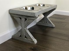 Items similar to Medium Rustic wood dog bed with pull out feeding station- Raised dog bed with built-in food stand- Medium Pet Bed on Etsy Dog Food Bowl Stand, Dog Food Bowls, Food Stands, Pet Bowls, Wood Dog Bowl Stand, Elevated Dog Feeder, Elevated Dog Bowls, Raised Dog Bowls, Dog Feeding Station