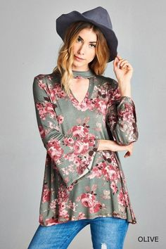 Floral Print Choker Neck Top