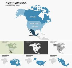 Complete North America PowerPoint maps with States - fully editable map file. Its a good thing when you want to separately represent the country in North America. For example, you can select the US or Canada, and Mexico want and they are all together ... North America Geography, North America Continent, North America Map, Tradeshow Banner Design, America Images, Keynote Template, Activities For Kids, Presentation