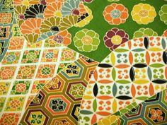 RARE Yuzen Geometric Floral Vintage Japanese by CosimaOrimono, $50.00