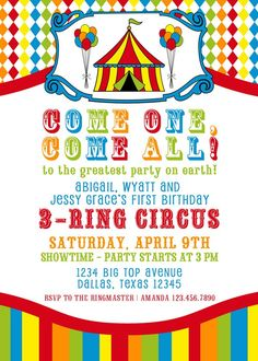 Free Printable Party Invitations: Big Top Circus Themed Party ...