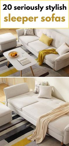 Beige sofa bed with flared arms Pink Sofa Bed, White Sofa Bed, White Sofas, Small Scale Furniture, Space Furniture, Spare Bed, Spare Room, Velvet Sleeper Sofa, Green Velvet Fabric