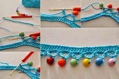 Puntilla al crochet combinada con perlas