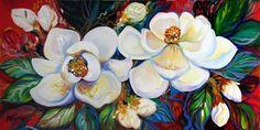 """Two Magnolias on Red"" par Marcia Baldwin"
