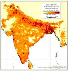 India Population Densities Est. 1995.  This shows how dense India has become.  It was much less dense only decades ago.