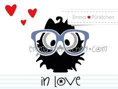 """∙ • Plotterdatei """"Nerdie Berdie verliebt"""" • ∙ von Emma & Pünktchen DIY auf DaWanda.com"""