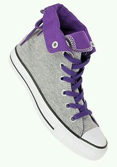 CONVERSE Womens Chuck Taylor All Star Slouchy Hi Fleece grey/purple - These look comfortable! Cool Converse, Purple Converse, Custom Converse, Cute Sneakers, Converse Sneakers, Cute Shoes, Me Too Shoes, Dream Shoes, Converse Shoes
