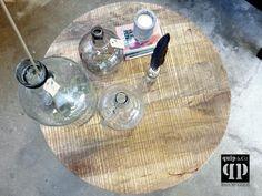 Ronde industriële salontafel met mango houten blad en ijzer frame