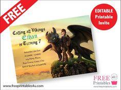 FREE how to train your dragon Invite freeprintables4u