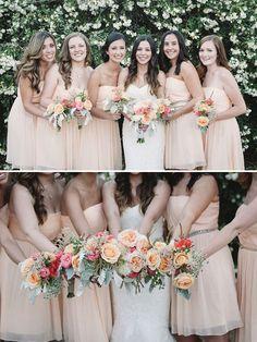 peach bridesmaids + bright bouquets