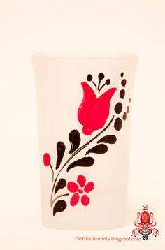 pálinkás, likőrös, homok fúvatott pohár, kézzel festett egyedi darabok. (1200.- )