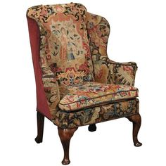 18th Century English Queen Anne Wing Chair in Walnut with Needlepoint Tapestry | From a unique collection of antique and modern wingback chairs at https://www.1stdibs.com/furniture/seating/wingback-chairs/