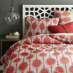 West Elm offers modern furniture and home decor featuring inspiring designs and colors. Create a stylish space with home accessories from West Elm. West Elm, White Headboard, White Bedding, Coral Bedding, Light Headboard, Modern Headboard, King Headboard, Home Bedroom, Bedroom Decor