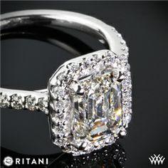 Ritani Emerald French-Set Halo Diamond Band Engagement Ring