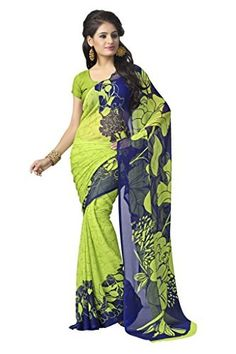 695ff51b0 vaamsi chiffon printed saree(Rolex3072 Multi-Coloured 6.3 m length) Blue  Green