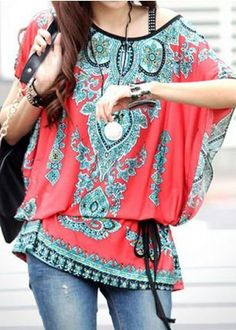 Love Love Love this Top SO Much! Great to wear with Jeans! Boho Chic Style Scoop Neck Print Color Block Short Sleeve Pullover Top #Boho #Chic #Turquoise #Coral #Red #Ethnic #Tribal #Print #Womens #Tops