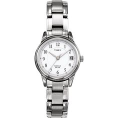 Classically styled and updated with the latest Timex timekeeping technology, the silvertone Timex stainless steel women's watch makes a great accent to both your everyday and business wear. It features a round silver watch case.