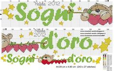 Risultati immagini per sogni d'oro punto croce Fizzy Moon, Minnie Baby, Cross Stitch Freebies, Cross Stitch Baby, Free Printables, Needlework, Bullet Journal, Crafts, Handmade