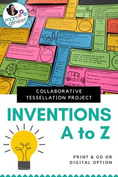 Inventions A to Z! Students choose an invention to learn about and complete the template. When all templates are finished and cut out, they can be placed together for a collaborative tessellation display! 50+ invention ideas given, though students are welcome to choose their own as well. Print and digital options included. This is a great STEM project that can be done as a whole class. #stemeducation