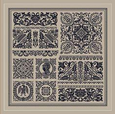 Gothic sampler scheme for cross stitch