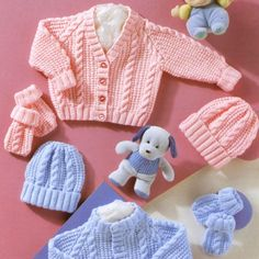 INSTANT DOWNLOAD PDF Knitting Pattern for Baby Pram Sets  Two cable pattern pram sets - cardigan with a choice of V or round neck, beanie hat and mitts. Cable and ruffle detail DK or light worsted weight yarn and 3.25mm and 4.00mm knitting needles, circular needle and cable needle required  To fit chest sizes 12, 14, 16, 18, 20 and 22 inches. Preemie sizes included.Small sizes could also be used to make clothes for dolls and teddy bears.  This vintage UK knitting pattern has been converted…