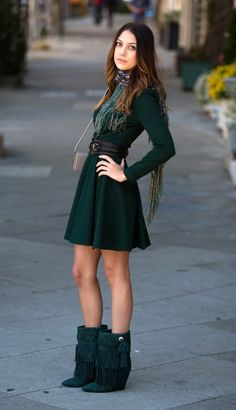 dress, boots and scarf #mirabellabeauty #emerald