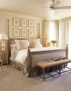 The master bedroom is just off the living room, so Howard used a similar palette to ease the transition, adding wood ceilings and an overhead fan to evoke the feeling of a sleeping porch. She upholstered the Left Bank bed from Hickory Chair in an outdoor fabric for easy maintenance.