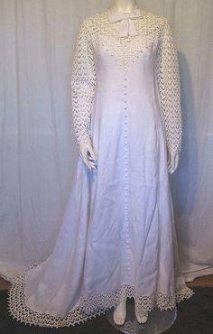 e20c1ac58c0 Vintage 60s MOD White Linen  w  Eyelet Sleeve Wedding Dress   Veil
