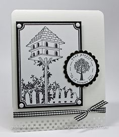 A black and white card...  I used Hero Arts Tall Birdhouse stamp, and a Dutch seal stamp by Art Journey (it says: enjoy your new home)  Border punch by Martha Stewart.    Detail photos in this blogpost    Stamps:  Hero Arts: Tall Birdhouse K5366  Art Journey check us out:  http://stainlesscablerailing.com/