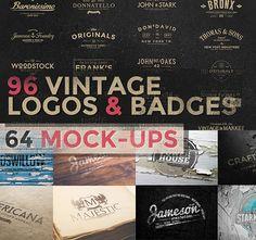 80% OFF !! 150+ Vintage Logos and Photo Mock-Ups Bundle #deals #mockups #design #logos #vintage
