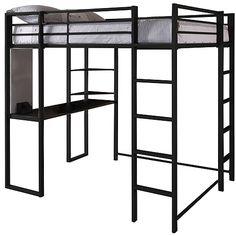 Adobe Full Metal Loft Bed over Workstation Desk, Black