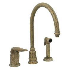 Whitehaus Collection Evolution One Handle Widespread Kitchen Faucet with Side Spray Finish: Specked Brass Kitchen And Bath, Kitchen Sink, Antique Brass Kitchen Faucet, Free Standing Wall, Bar Sink, Kitchen Fixtures, Dining Furniture, Rustic Style, Candle Sconces