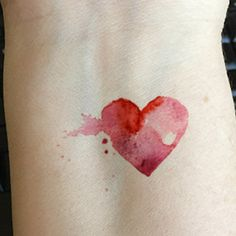 watercolor hearts tattoos More