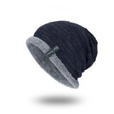 38792ed1379 Mens Plus Velvet Knitted Stripe Beanie Warm Hats