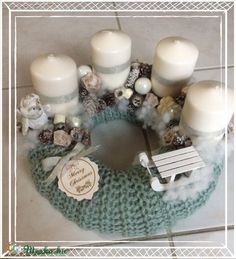 Stunning Sweater Wreath With Candles And Lovely Accents; Home Decor; Advent Wreath Candles, Christmas Candles, Christmas Centerpieces, Christmas Sweaters, Christmas Crafts, Christmas Decorations, Table Decorations, How To Make Something, Decorating With Pictures